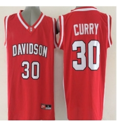 2015 Davidson Wildcats #30 Stephen Curry Red Basketball Stitched NCAA Jersey