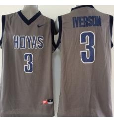 2015 Georgetown Hoyas #3 Allen Iverson Grey Basketball Stitched NCAA Jersey