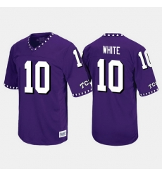 Men Tcu Horned Frogs Desmon White Throwback Purple Jersey