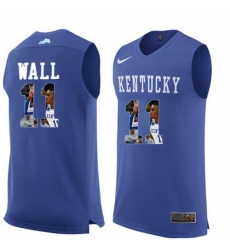 Kentucky Wildcats 11 John Wall Royal Blue With Portrait Print College Basketball Jersey