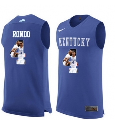 Kentucky Wildcats 4 Rajon Rondon Royal Blue With Portrait Print College Basketball Jersey