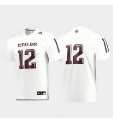 Men Texas A&M Aggies 12 White Replica Football Jersey