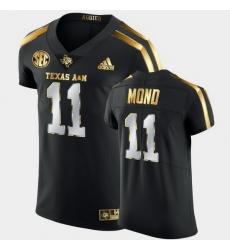 Men Texas A&M Aggies Kellen Mond Golden Edition Black Authentic Jersey