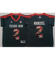 Texas A 26M Aggies 2 Johnny Manziel Black Portrait Number College Jersey