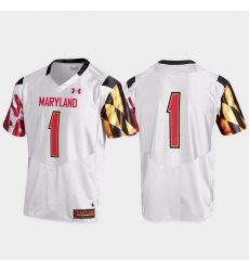 Men Maryland Terrapins 1 White Replica Jersey