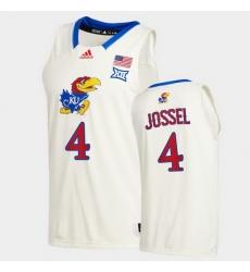 Men Kansas Jayhawks Latrell Jossel College Basketball Cream New Season 2020 21 Jersey