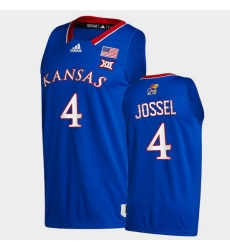 Men Kansas Jayhawks Latrell Jossel College Basketball Royal New Season 2020 21 Jersey