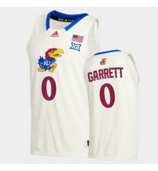 Men Kansas Jayhawks Marcus Garrett College Basketball Cream New Season 2020 21 Jersey