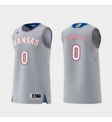 Men Kansas Jayhawks Marcus Garrett Gray Replica College Basketball Jersey
