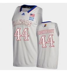 Men Kansas Jayhawks Mitch Lightfoot College Basketball Gray New Season 2020 21 Jersey