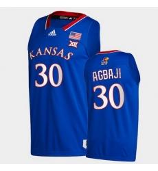 Men Kansas Jayhawks Ochai Agbaji College Basketball Royal New Season 2020 21 Jersey