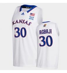 Men Kansas Jayhawks Ochai Agbaji College Basketball White New Season 2020 21 Jersey