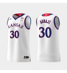 Men Kansas Jayhawks Ochai Agbaji White Replica College Basketball Jersey
