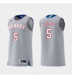 Men Kansas Jayhawks Quentin Grimes Gray Replica College Basketball Jersey