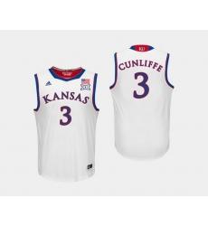 Men Kansas Jayhawks Sam Cunliffe White College Basketball Jersey