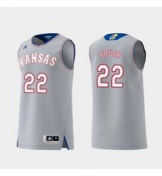 Men Kansas Jayhawks Silvio De Sousa Gray Replica College Basketball Jersey