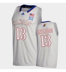 Men Kansas Jayhawks Tristan Enaruna College Basketball Gray New Season 2020 21 Jersey