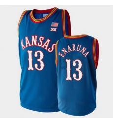 Men Kansas Jayhawks Tristan Enaruna College Basketball Royal Jersey