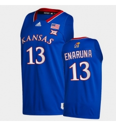 Men Kansas Jayhawks Tristan Enaruna College Basketball Royal New Season 2020 21 Jersey