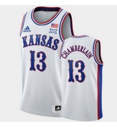 Men Kansas Jayhawks Wilt Chamberlain White 1990S Throwback Retired Player Jersey