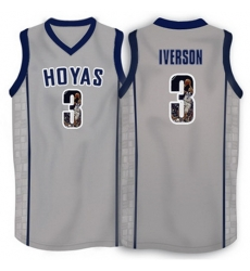 Georgetown Hoyas 3 Allen Iverson Gray 1996 Throwback With Portrait Print College Basketball Jersey2