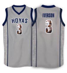 Georgetown Hoyas 3 Allen Iverson Gray 1996 Throwback With Portrait Print College Basketball Jersey3