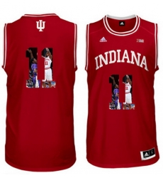 Indiana Hoosiers 11 Isiah Thomas Red With Portrait Print College Basketball Jersey