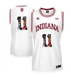 Indiana Hoosiers 11 Isiah Thomas White With Portrait Print College Basketball Jersey