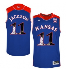Kansas Jayhawks 11 Josh Jackson Blue With Portrait Print College Basketball Jersey