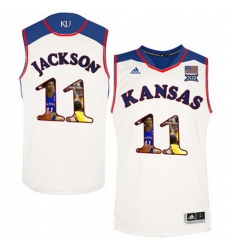 Kansas Jayhawks 11 Josh Jackson White With Portrait Print College Basketball Jersey