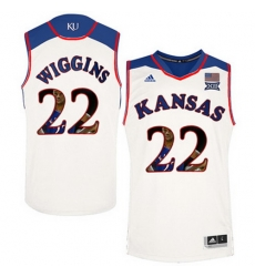Kansas Jayhawks 22 Andrew Wiggins White With Portrait Print College Basketball Jersey2