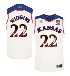 Kansas Jayhawks 22 Andrew Wiggins White With Portrait Print College Basketball Jersey