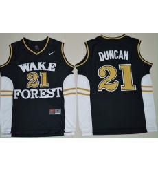 Wake Forest Demon Deacons Tim Duncan 21 College Basketball Jersey  Black