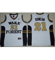 Wake Forest Demon Deacons Tim Duncan 21 College Basketball Jersey  White