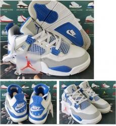Air Jordan 4 Retro White Blue Nike Air Logo Men Shoes