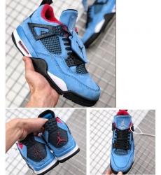 Air Jordan 4 Travis Scott X Blue Suede Men Shoes