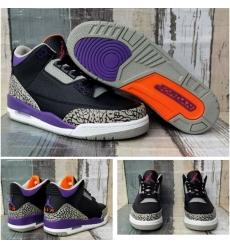 Air Jordan 3 Retro Black Purpel Men Shoes