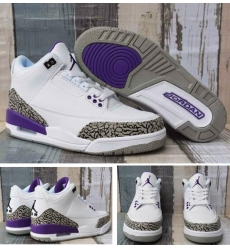 Air Jordan 3 Retro White Purple Men Shoes
