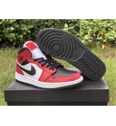Women 2020 Air Jordan 1s Mid Chicago Black Toe 554724-069 Shoes