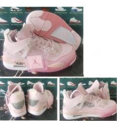 Women Air Jordan 4 Retro Pink X offi White Shoes