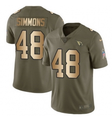 Nike Cardinals 48 Isaiah Simmons Olive Gold Men Stitched NFL Limited 2017 Salute To Service Jersey