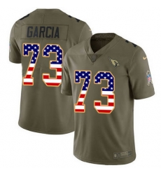 Nike Cardinals 73 Max Garcia Olive USA Flag Men Stitched NFL Limited 2017 Salute To Service Jersey
