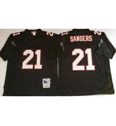 Men Atlanta Falcons 21 Deion Sanders Black M&N Throwback Jersey