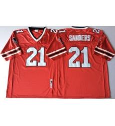 Men Atlanta Falcons 21 Deion Sanders Red 1989 M&N Throwback Jersey
