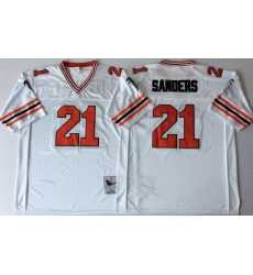 Men Atlanta Falcons 21 Deion Sanders White 1989 M&N Throwback Jersey