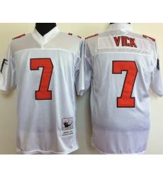 Men Atlanta Falcons 7 Michael Vick White M&N Throwback Jersey