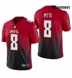 Women Atlanta Falcons #8 Kyle Pitts Red 2021 Draft Jersey