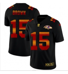 Baltimore Ravens 15 Marquise Brown Men Black Nike Red Orange Stripe Vapor Limited NFL Jersey