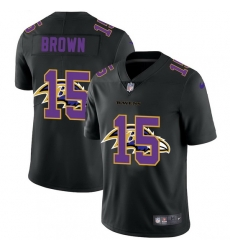 Baltimore Ravens 15 Marquise Brown Men Nike Team Logo Dual Overlap Limited NFL Jersey Black