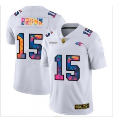 Baltimore Ravens 15 Marquise Brown Men White Nike Multi Color 2020 NFL Crucial Catch Limited NFL Jersey